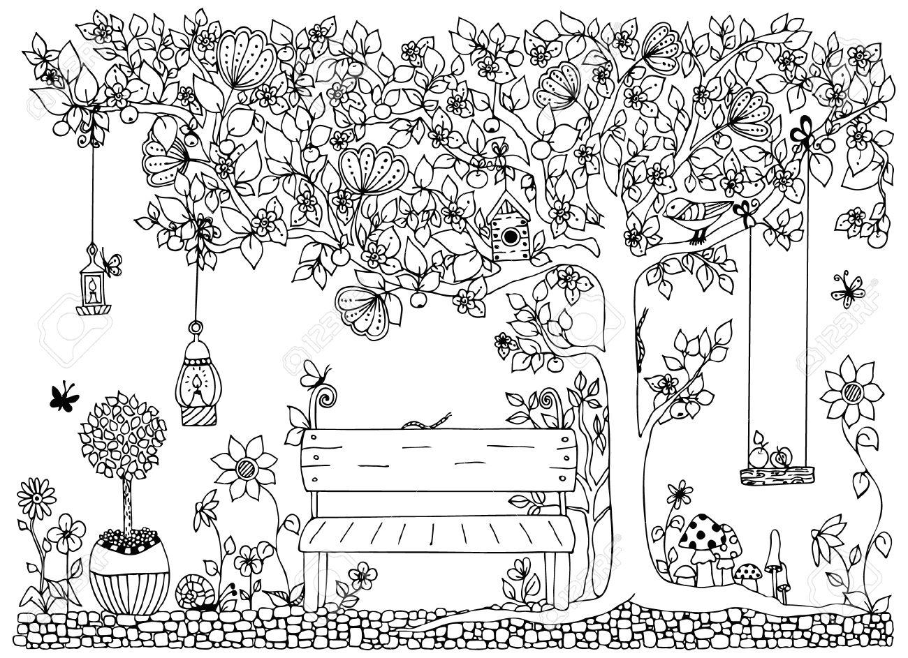 Ilustración Vectorial Parque, Jardín, Primavera: Banco, Un árbol Con ...