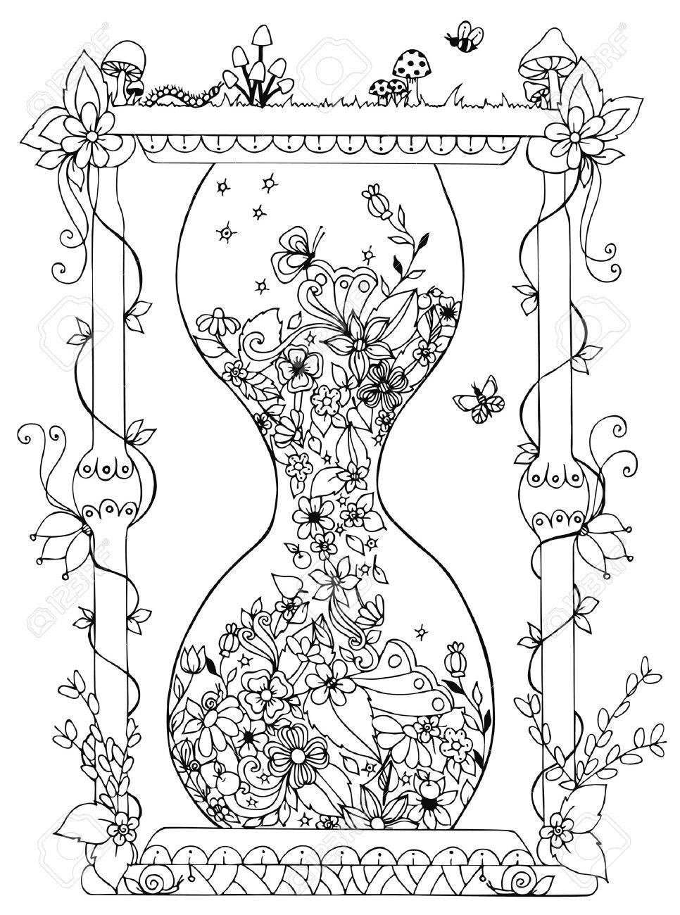 Ilustración Del Vector De Reloj De Arena Con Flores. El Tiempo, La ...
