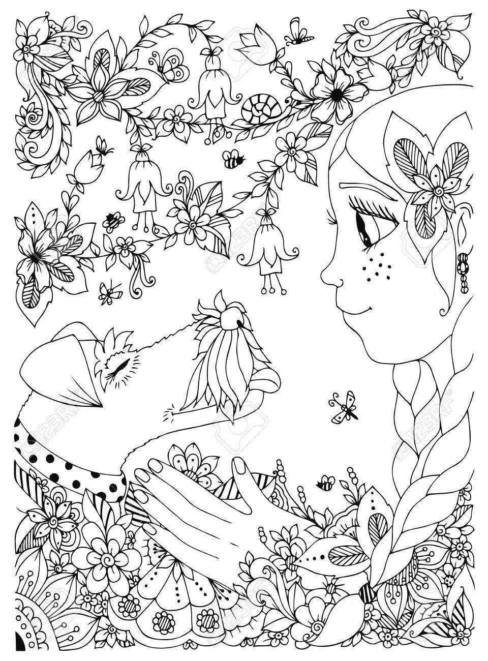 Coloriage Chien A Taches.Vector Illustration D Une Fille Avec Des Taches De Rousseur Etreindre Renard Chien Terrier Fleurs De Griffonnage Cadre Foret Jardin Dessin