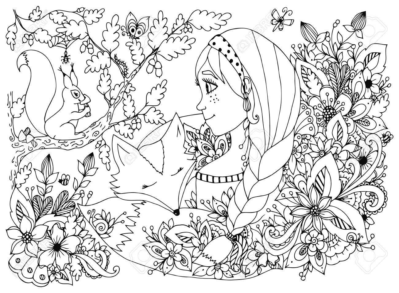 Coloriage Anti Stress Visage.Vector Illustration Fille Avec Des Taches De Rousseur Regardant L Ecureuil Le Visage Endormi Dans Les Fleurs Habitants De Bande Dessinee Enfants