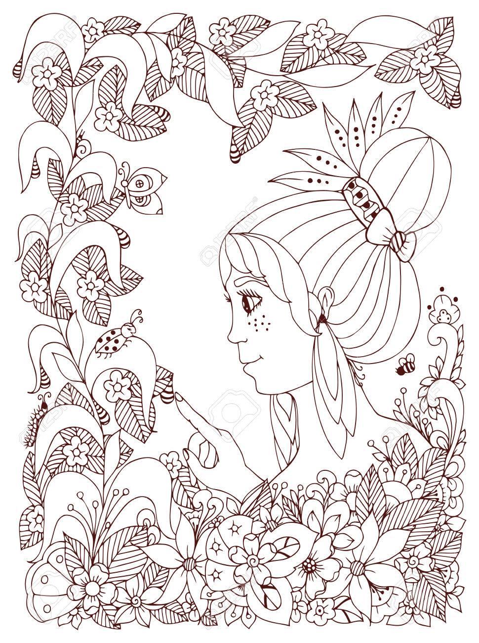 Vektor-Illustration Mädchen Kind Mit Freckles Schaut Marienkäfer In ...