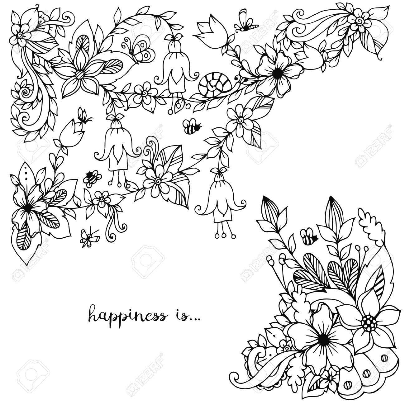 vector illustration of floral frame doodling zenart doodle