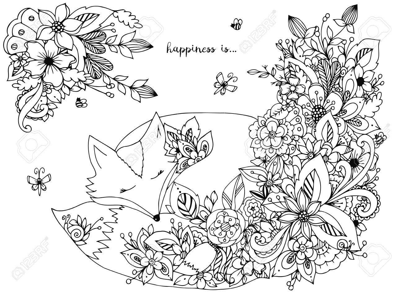 Vector illustration fox sleeps in flowers. Doodle forest, wild..
