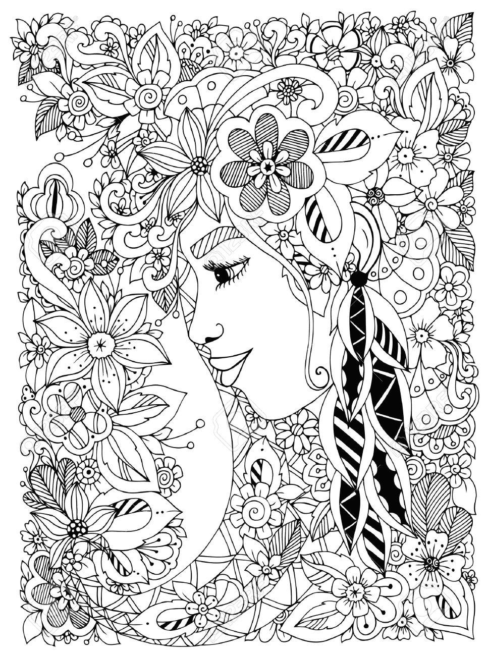 Vektor-Illustration Zen Tangle Porträt Einer Frau In Einem ...
