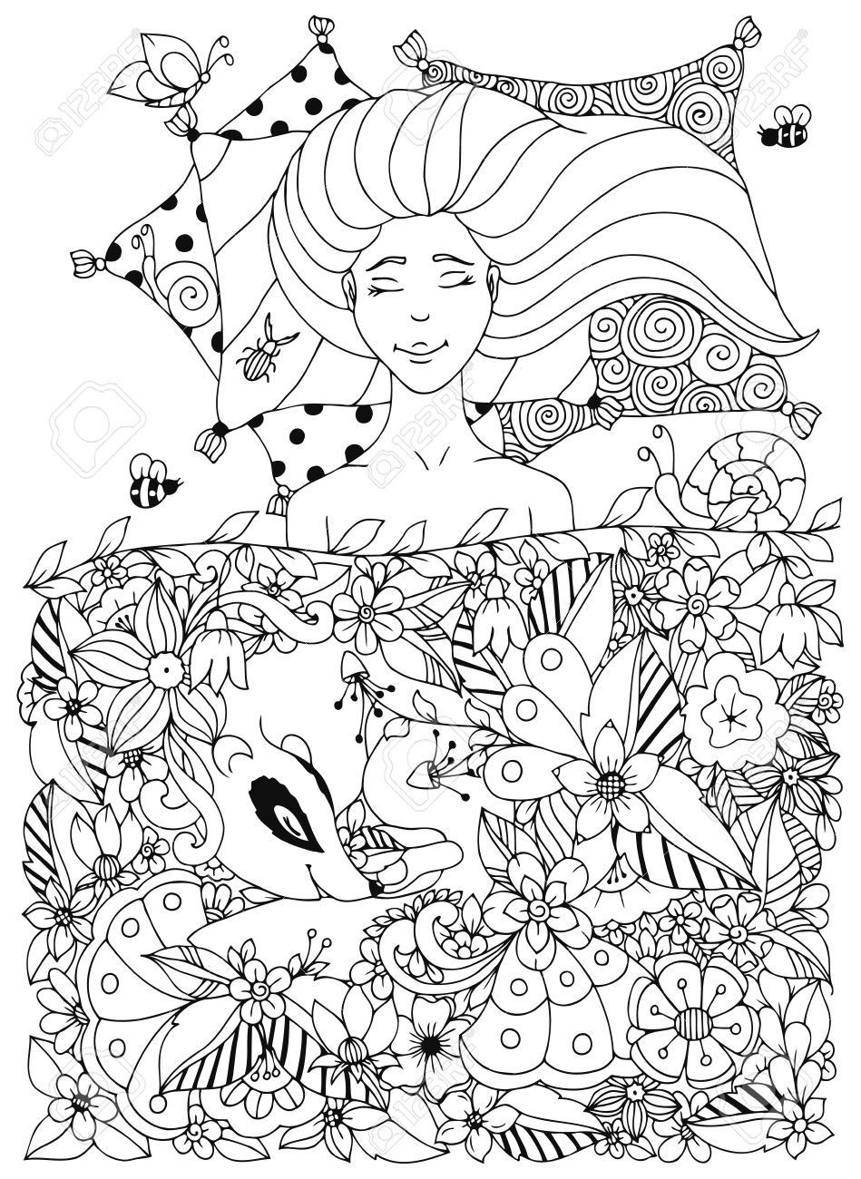 Doodle Flowers, Badger, Animal. Coloring Book Anti Stress For Adults. Coloring  Page. Black And White.