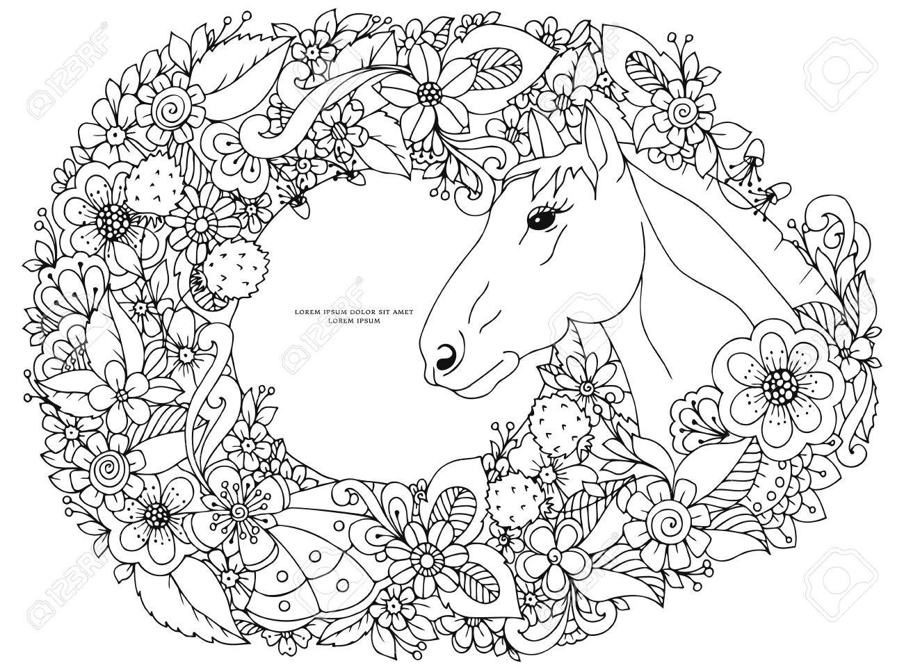 Vector illustration Zen Tangle horse in flower frame. Doodle..