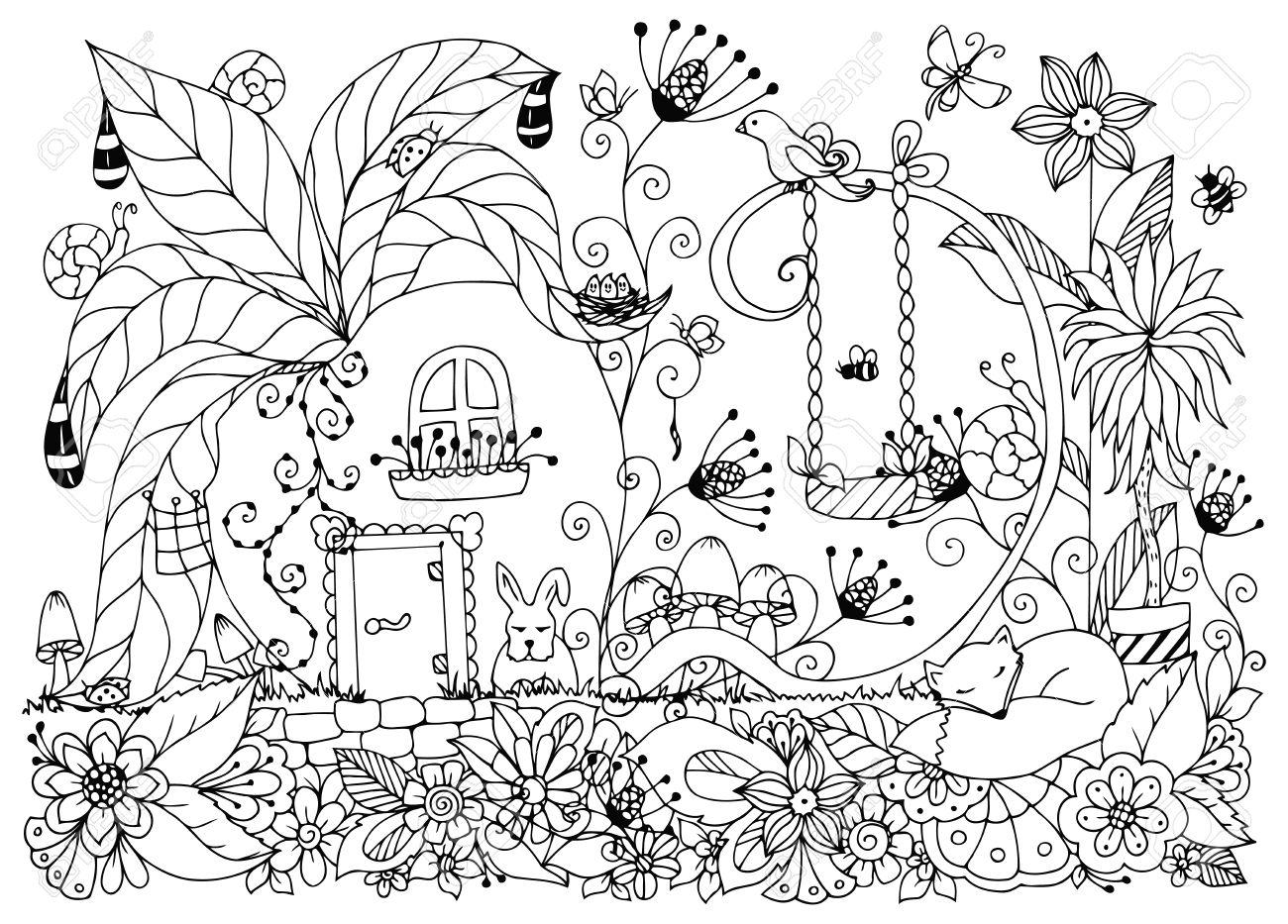 ilustracin vectorial zen enredo casa de rbanos flores de bosquejo jardn naturaleza