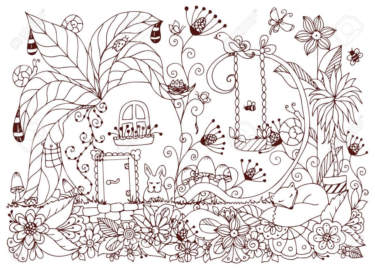 Coloriage Adulte Foret.Vector Illustration Maison Zen Tangle De Radis Fleurs De Griffonnage Jardin Nature Foret Coloriage Livre Anti Stress Pour Les Adultes Coloriage