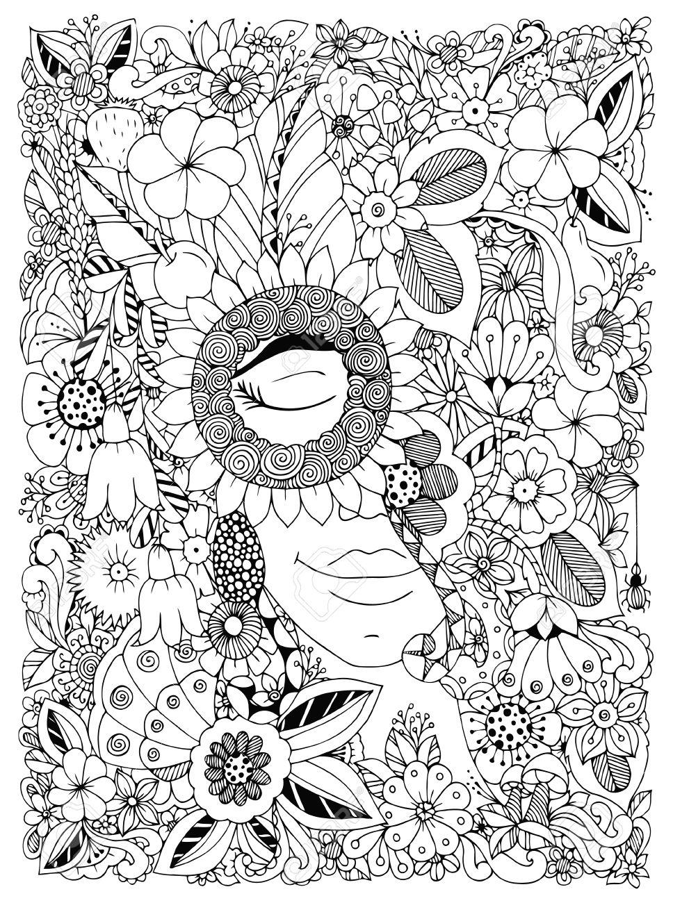 Ilustracion Vectorial Zen Enredo Retrato De Una Mujer En Un Marco De