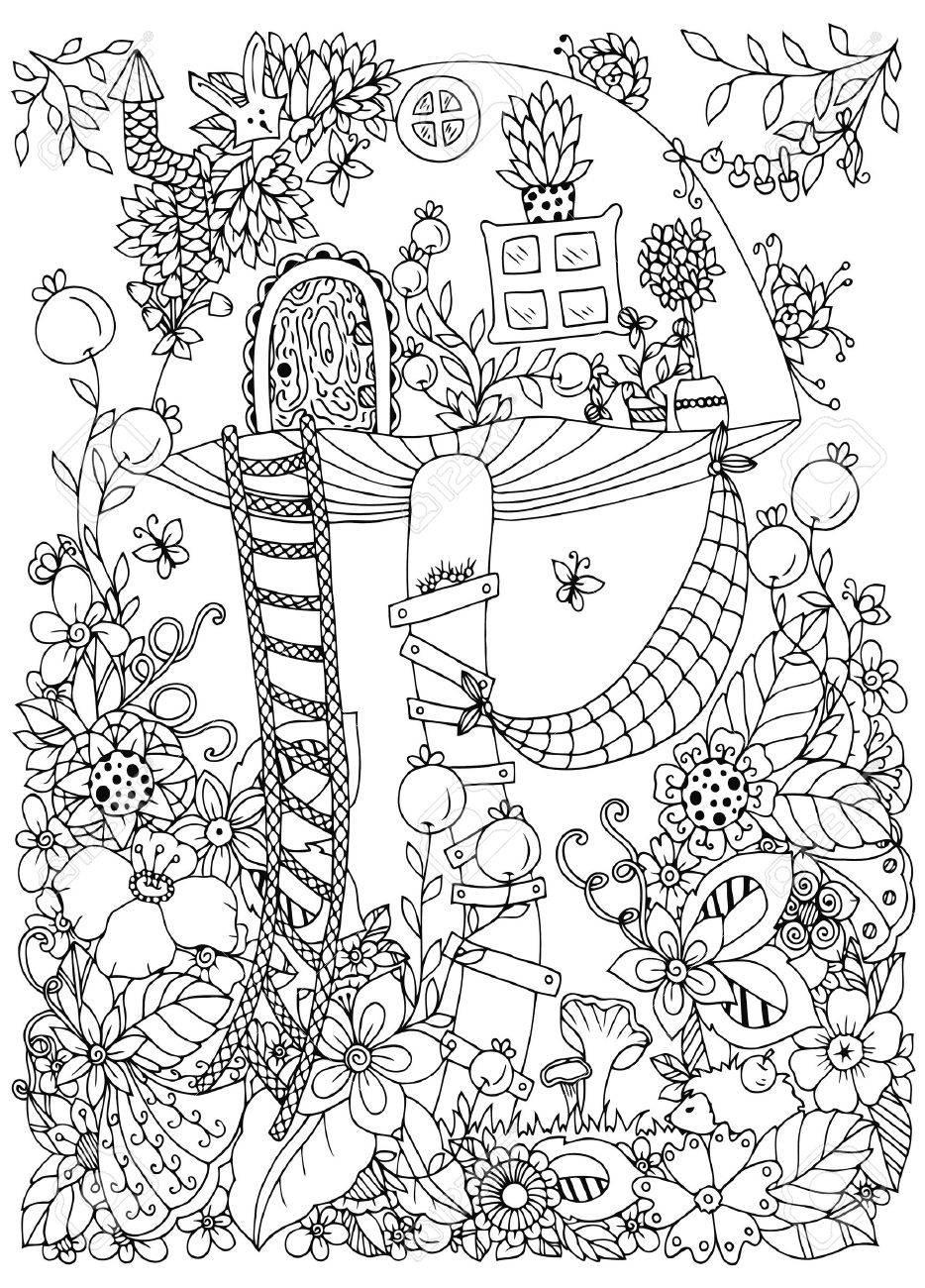 Coloriage Maison Dans La Foret.Illustration Vectorielle Enchevetrement Zen Maison Doodle Du Champignon Dans La Foret Doodle Fleurs Livre De Coloriage Anti Stress Pour Adultes