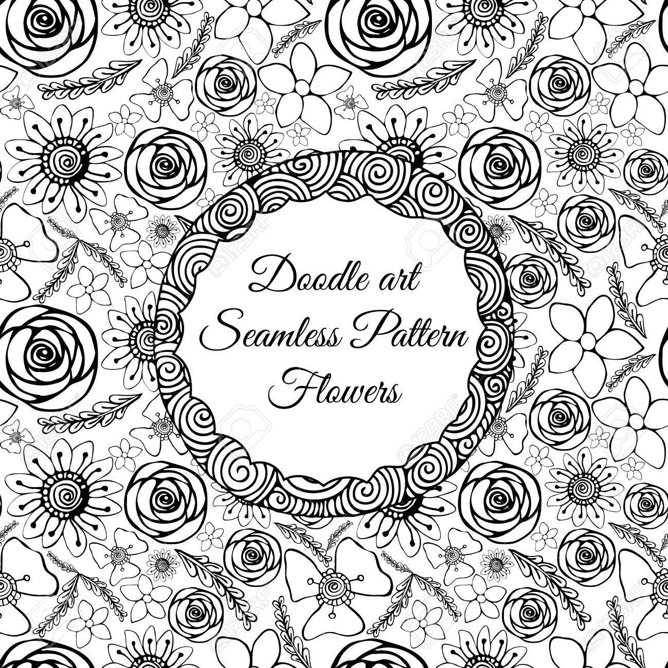 Doodle Del Arte. Patrón Abstracto Sin Fisuras Con Las Flores ...