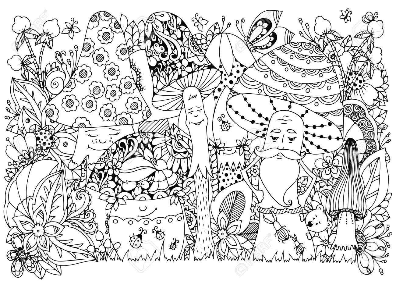 Coloriage Adulte Foret.Vector Illustration Zen Tangle De Champignons Dans La Foret Cartoon Griffonnage Floral Coloriage Livre Anti Stress Pour Les Adultes Noir Et