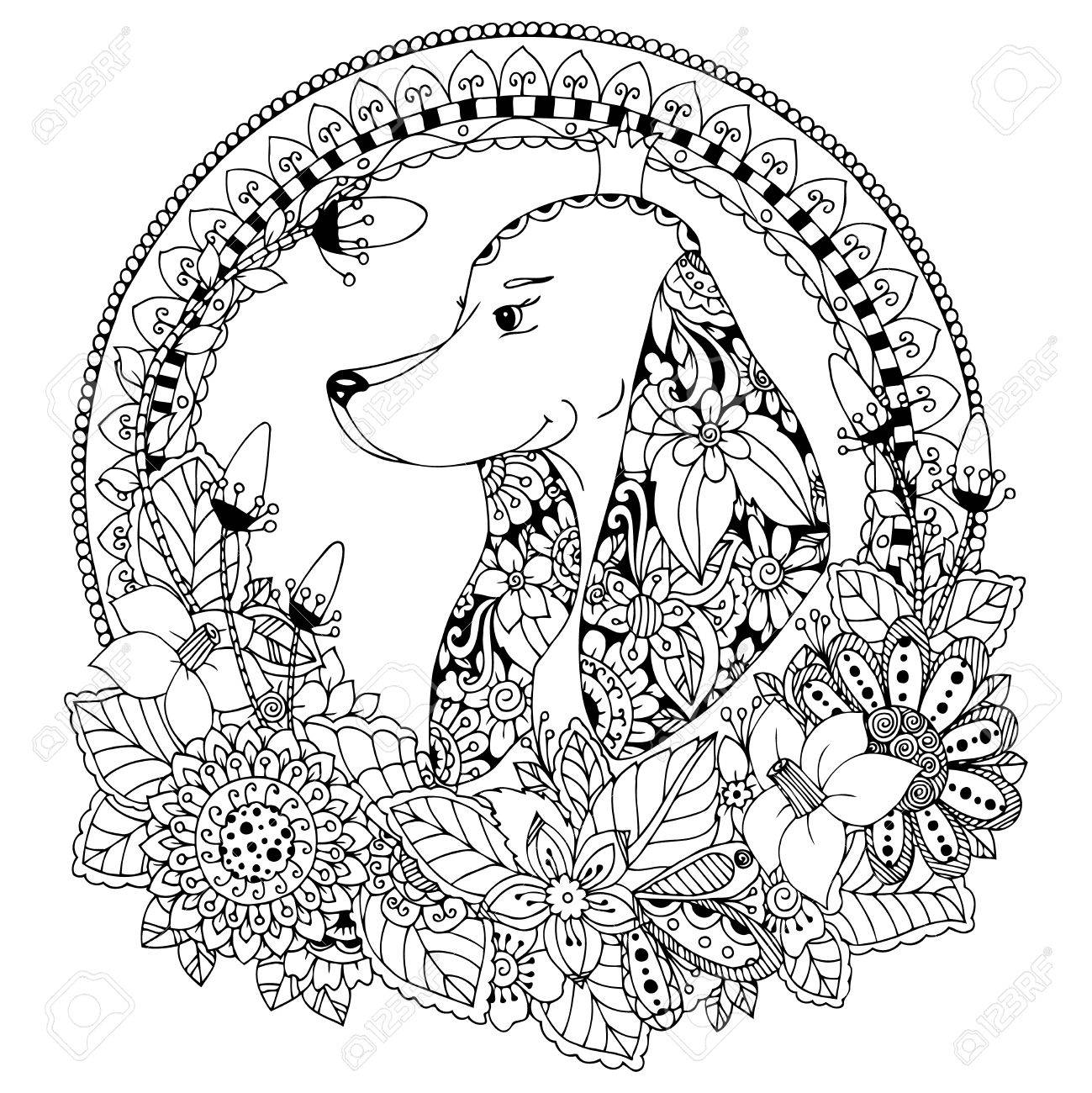 Vector Illustration Zen Tangle Dog In Round Frame Floral. Doodle ...