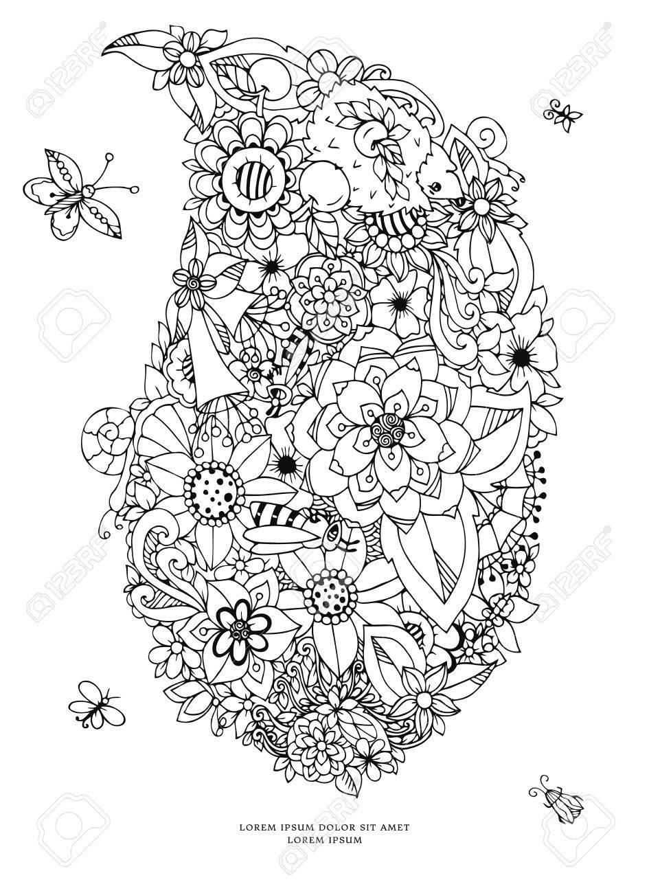 Vektor-Illustration Zentangl Karte Mit Blumen. Doodle Blumen ...