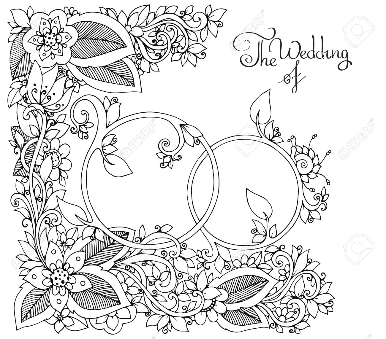 Coloring book wedding pictures - Vector Illustration Zen Tangle Wedding Rings In Flowers Doodle Drawing Floral Coloring Book
