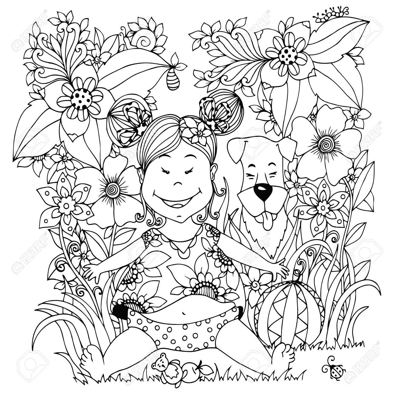 Vector Illustration Zen Tangle Bébé Petite Fille Avec Un Chien Dans Les Fleurs Dessin Doodle Coloriage Livre Anti Stress Pour Les Adultes Noir Et