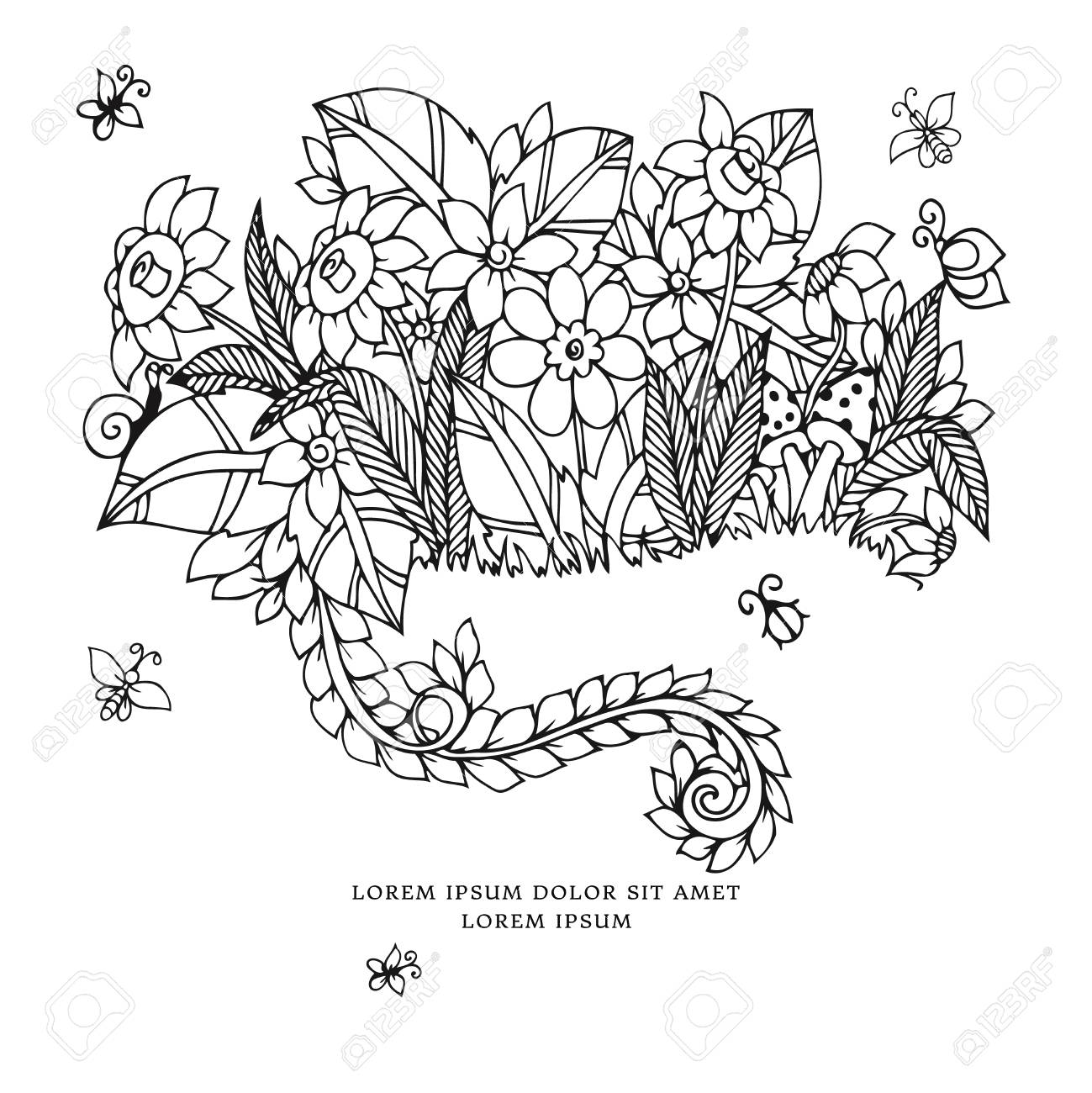 Vector Illustration Zentangl Card With Flowers. Doodle Flowers ...