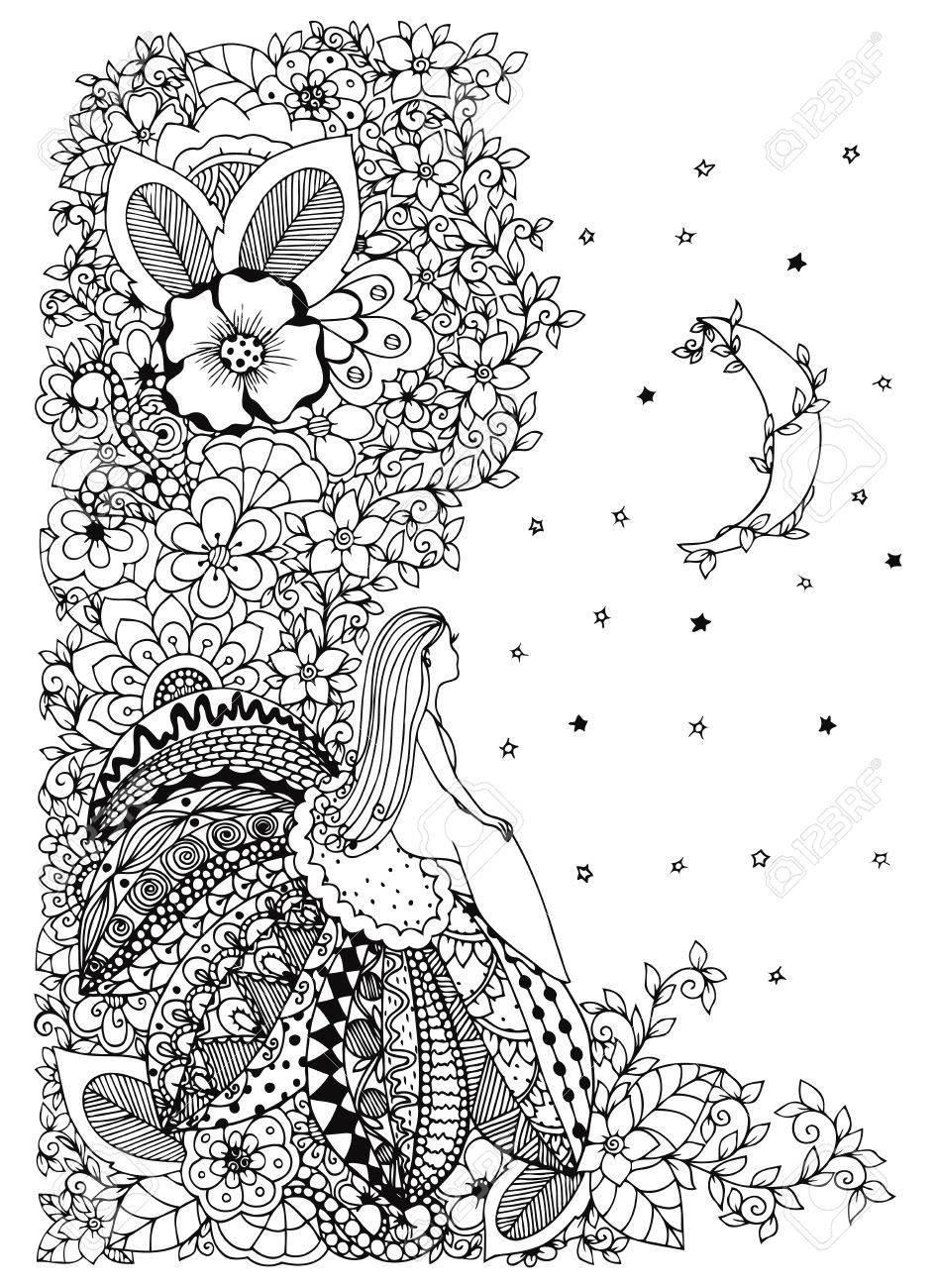 Coloriage Fleur Zen.Vector Illustration Zen Tangle Petite Fille Assise Sur Une Fleur Et