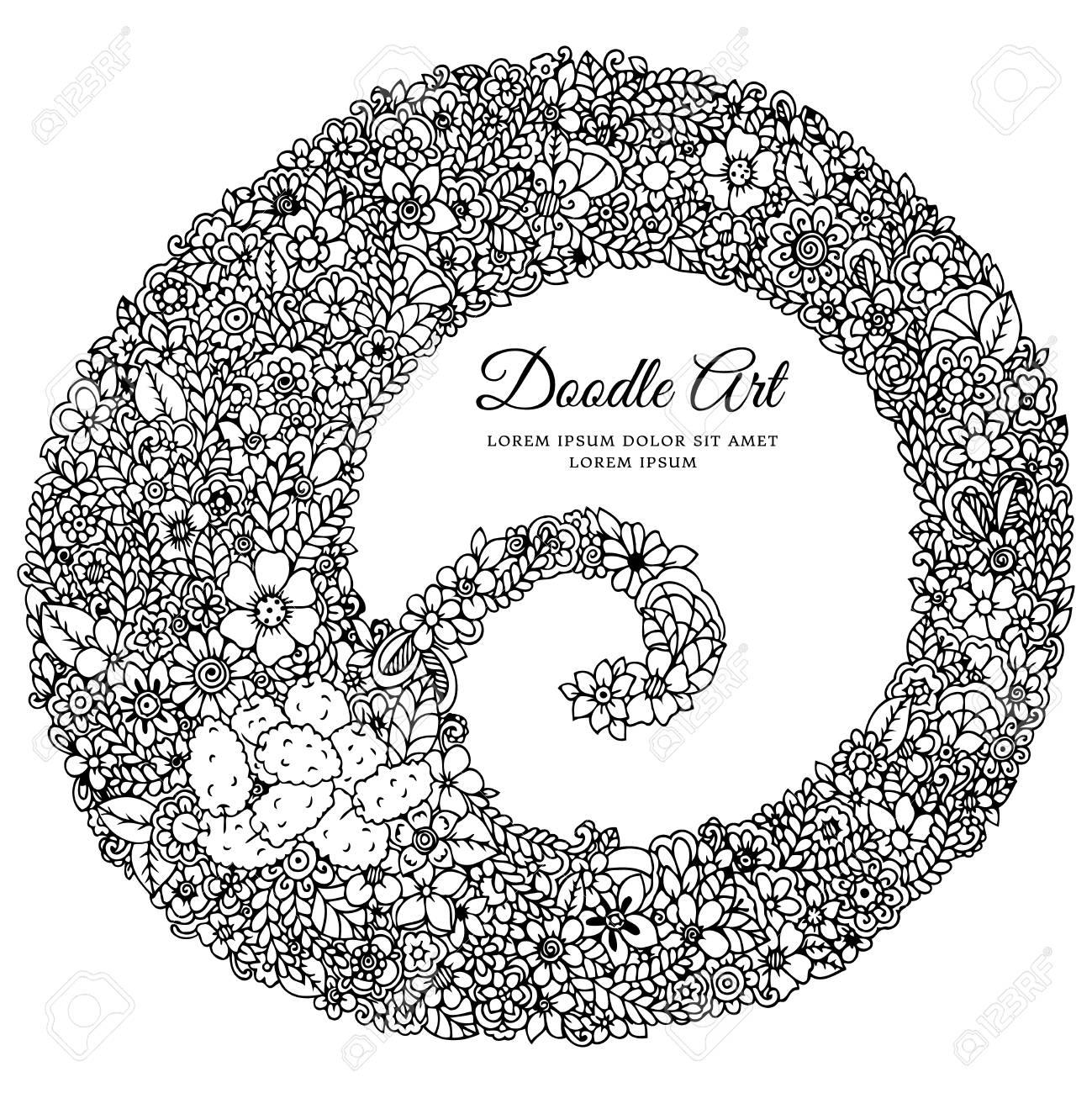 Cornici Disegno Bianco E Nero.Illustrazione Vettoriale Zentangl Cornice Rotonda Nei Fiori Doodle Disegno Libro Da Colorare Anti Stress Per Gli Adulti Bianco E Nero