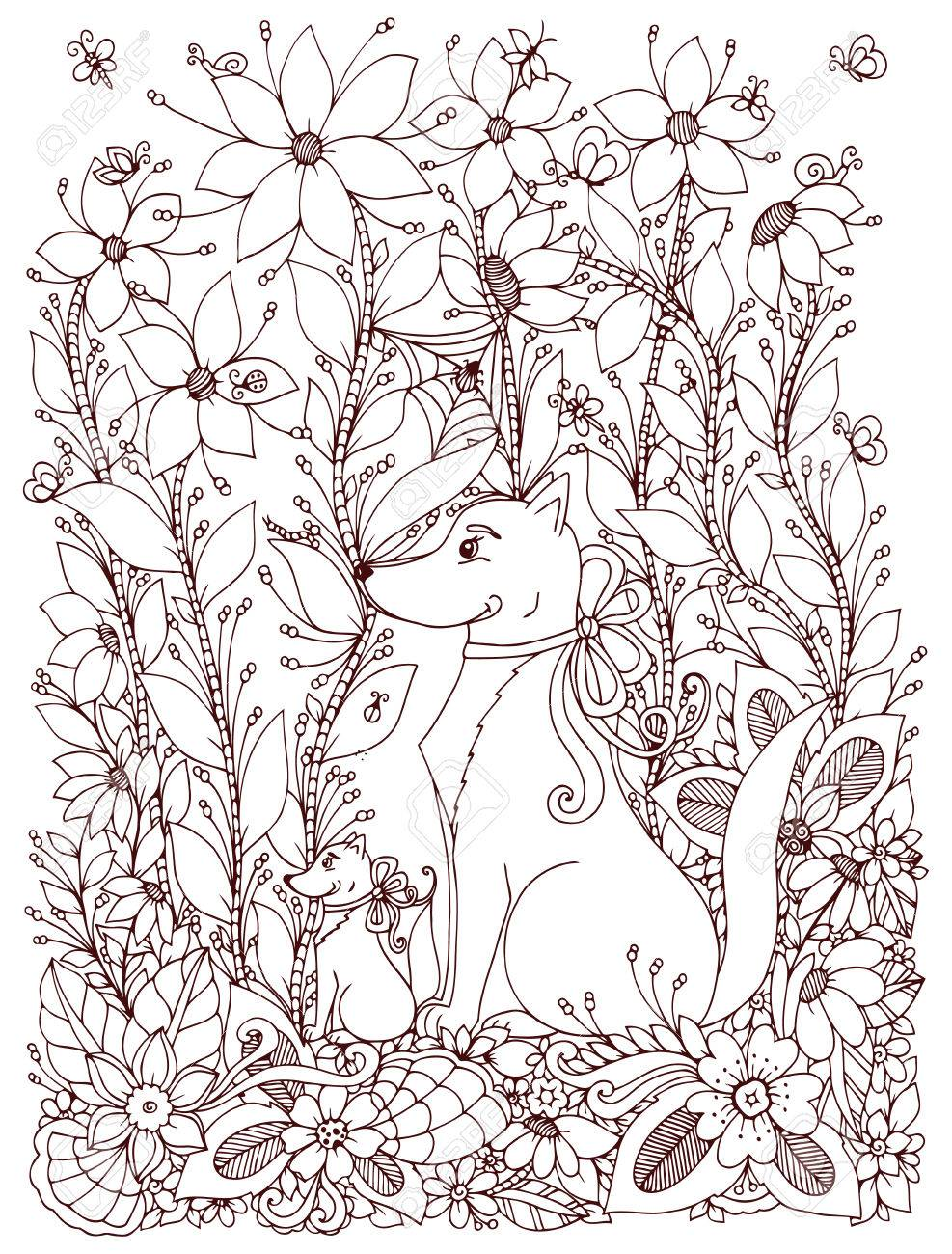 Vector illustration Zen Tangle dog and puppy sitting in the flowers