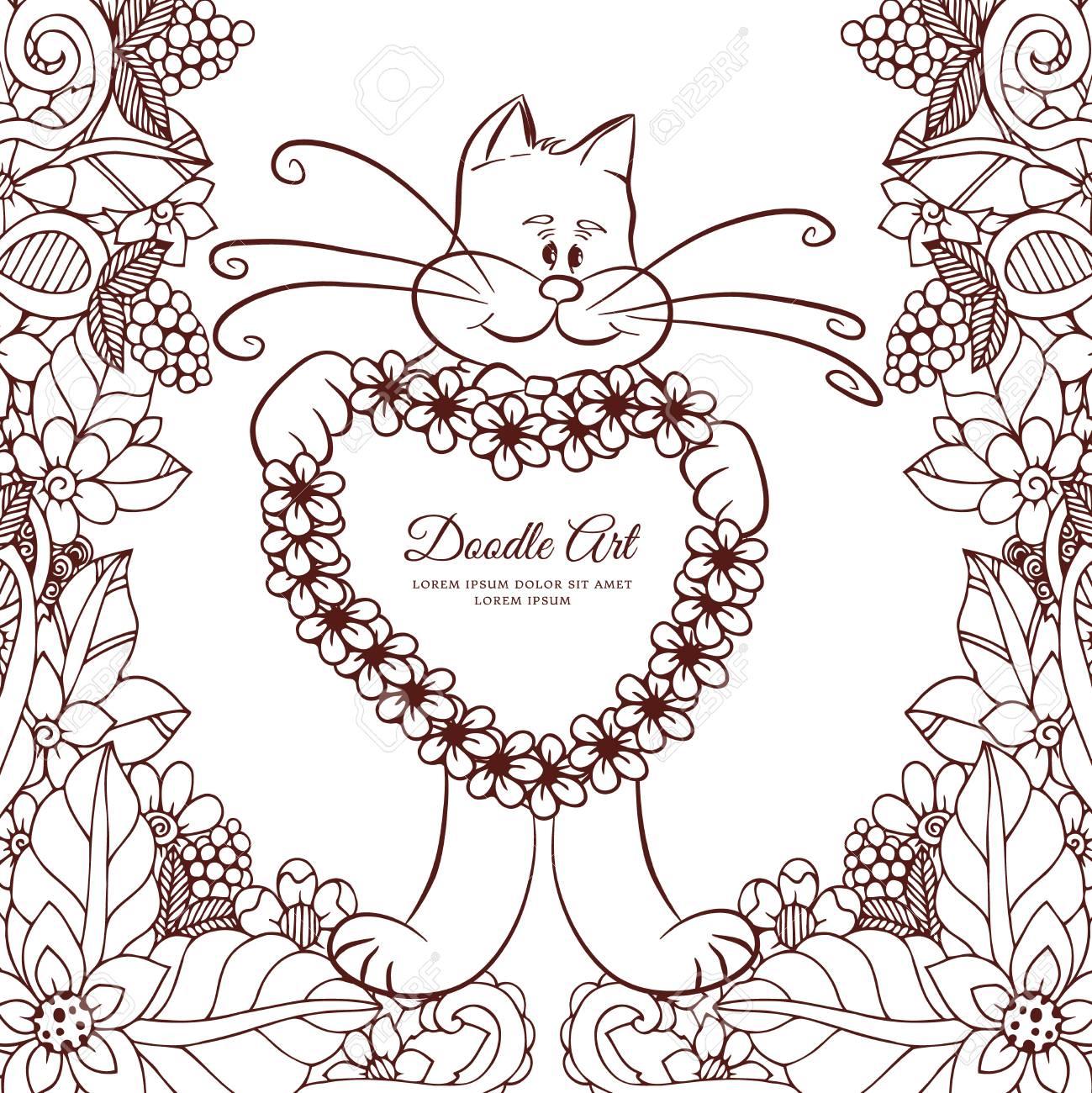 ベクトル イラスト禅昆布花で心を持ってキティ落書きを描画します