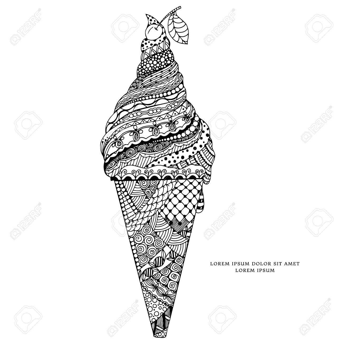 Vektor-Illustration Zen Tangle, Eis Mit Ornament. Doodle Zeichnung ...