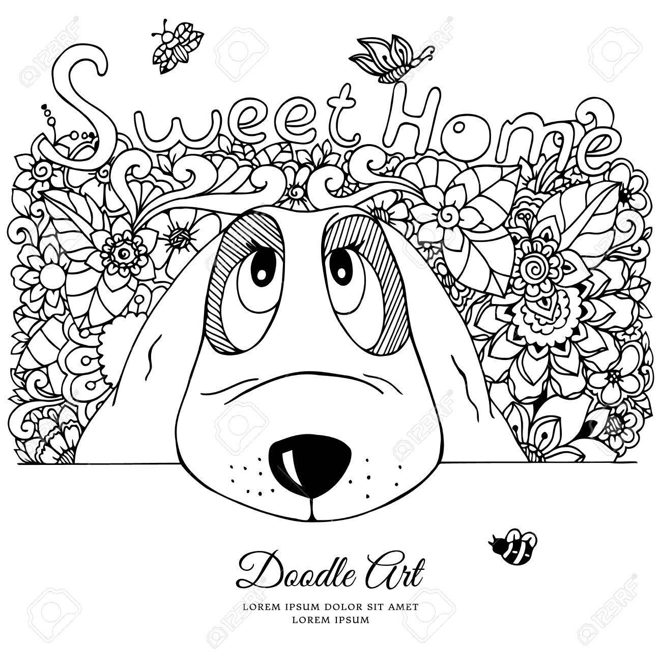 Vector Illustration Dog And Flowers Doodle Drawing Meditative