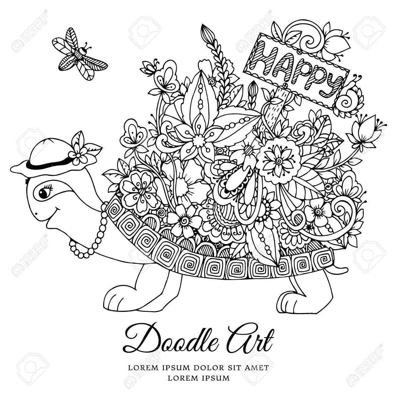 vector illustration turtle with a pointer to happy floral frame