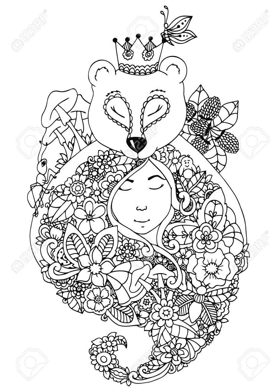 Ilustración Vectorial Zentangl Oso Y La Niña En Las Flores Del ...