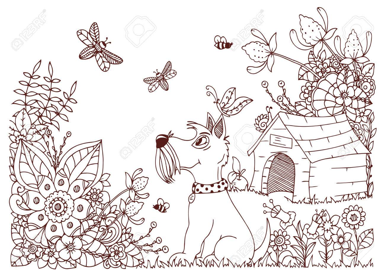 vector illustration zentangl dog kennel and in flowers doodle