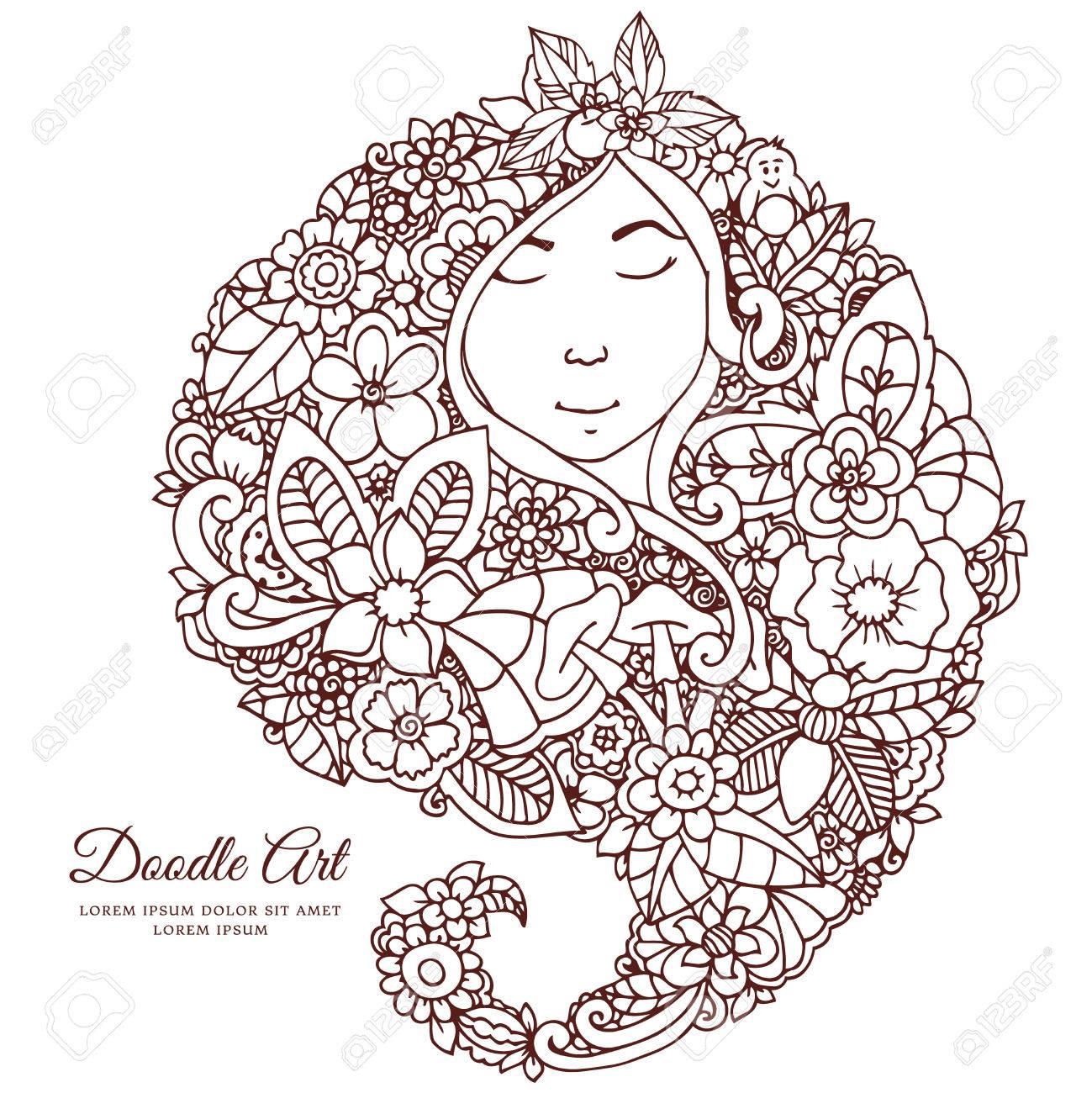 Ilustración Vectorial Chica Zentangl Con Flores En El Pelo. Dibujo A ...