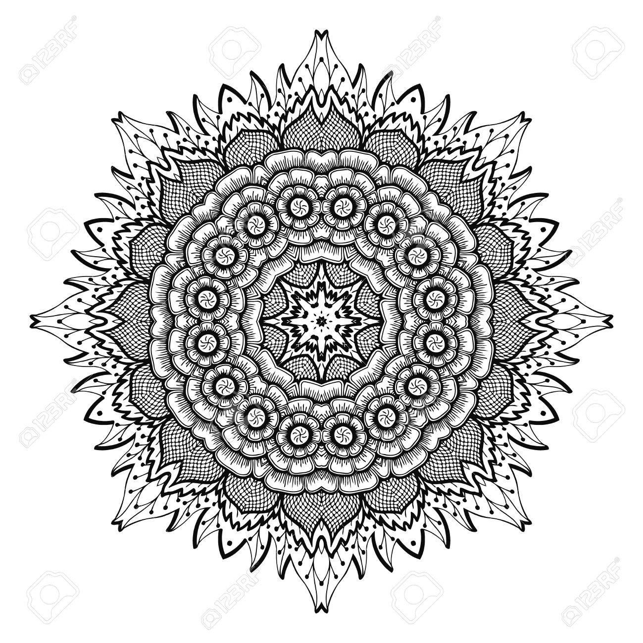 Vector A Ilustracao Zen Tangle Mandala De Flores Desenho De