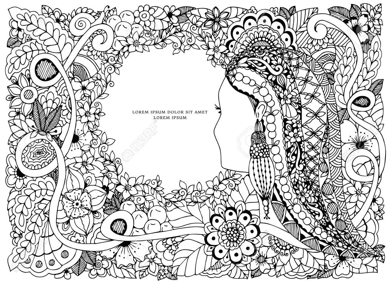 Vector Illustration Zen Tangle Portrait Of A Woman In A Flower ...