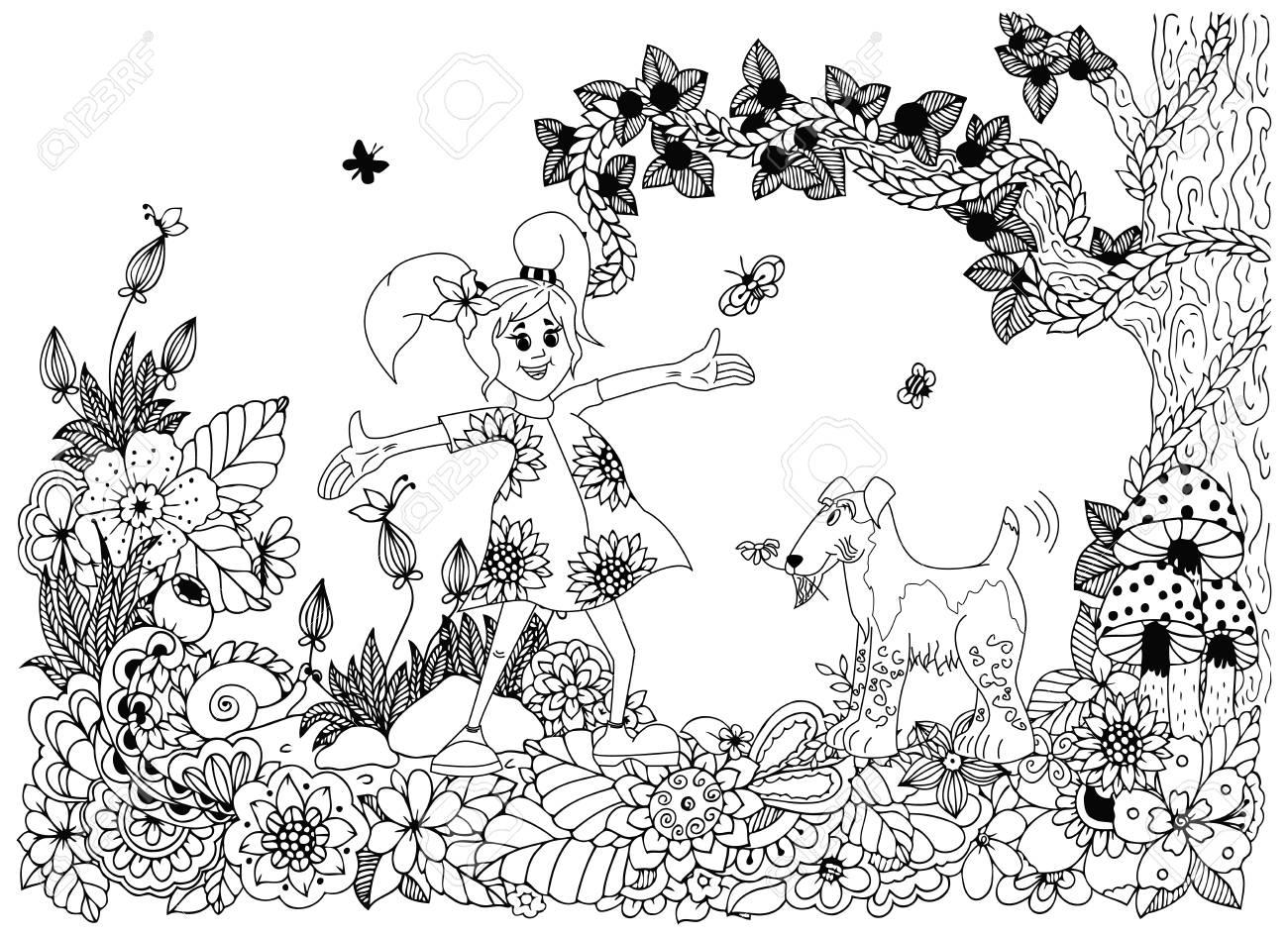 Vector Illustration Zen Tnagl Girl And Dog In Flowers Doodle
