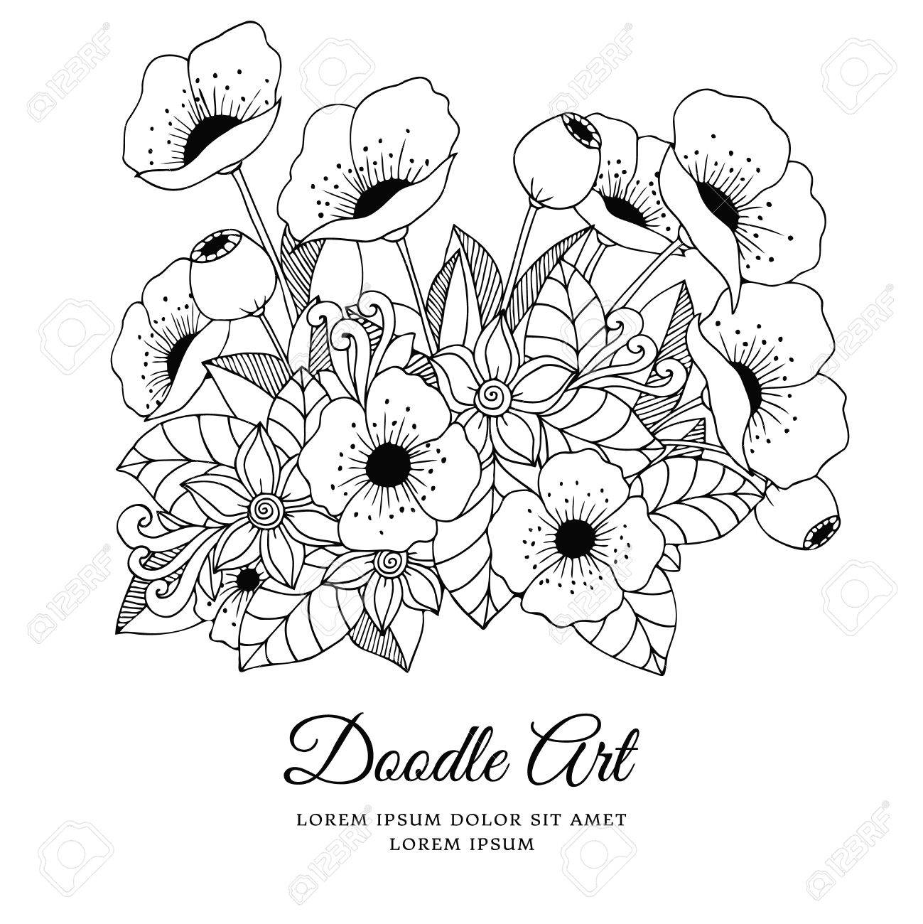 Ilustración Vectorial Zentangl Flores Amapolas. Dibujo A Mano Libro ...