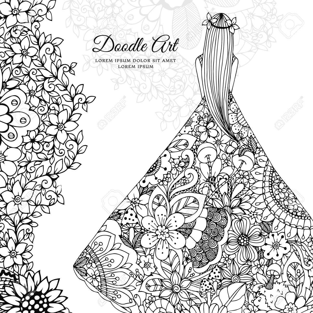 Vector Illustration Zen Tangle Girl In A Floral Dress Doodle