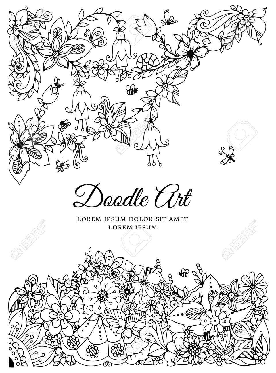 Zentnagl De Ilustracao Vetorial Quadro Floral Desenho De Doodle