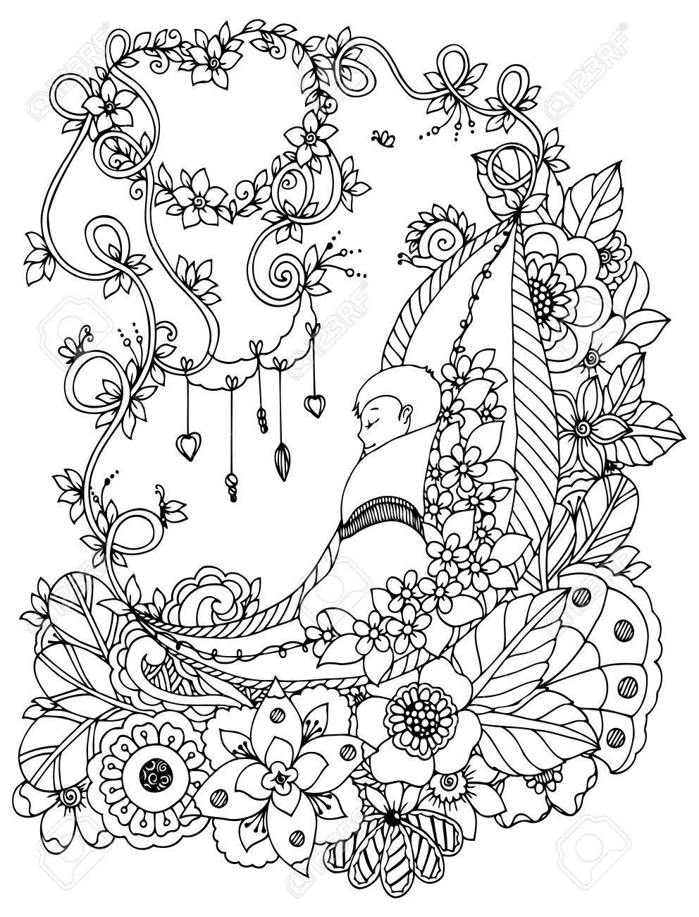Coloriage Bebe Fleurs.Vector Illustration Zentangl Le Bebe Dort Dans Les Fleurs Dessin