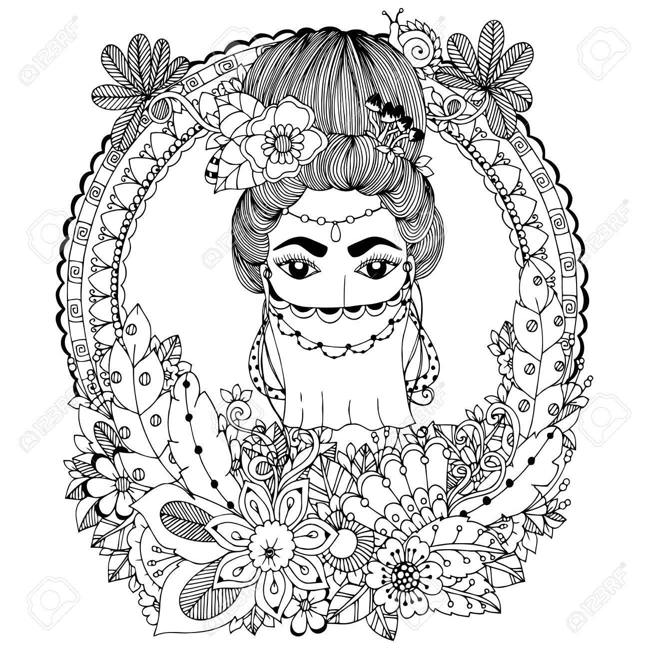 Vektor-Illustration. Doodle Orientalische Frau In Floralen Rahmen Zu ...