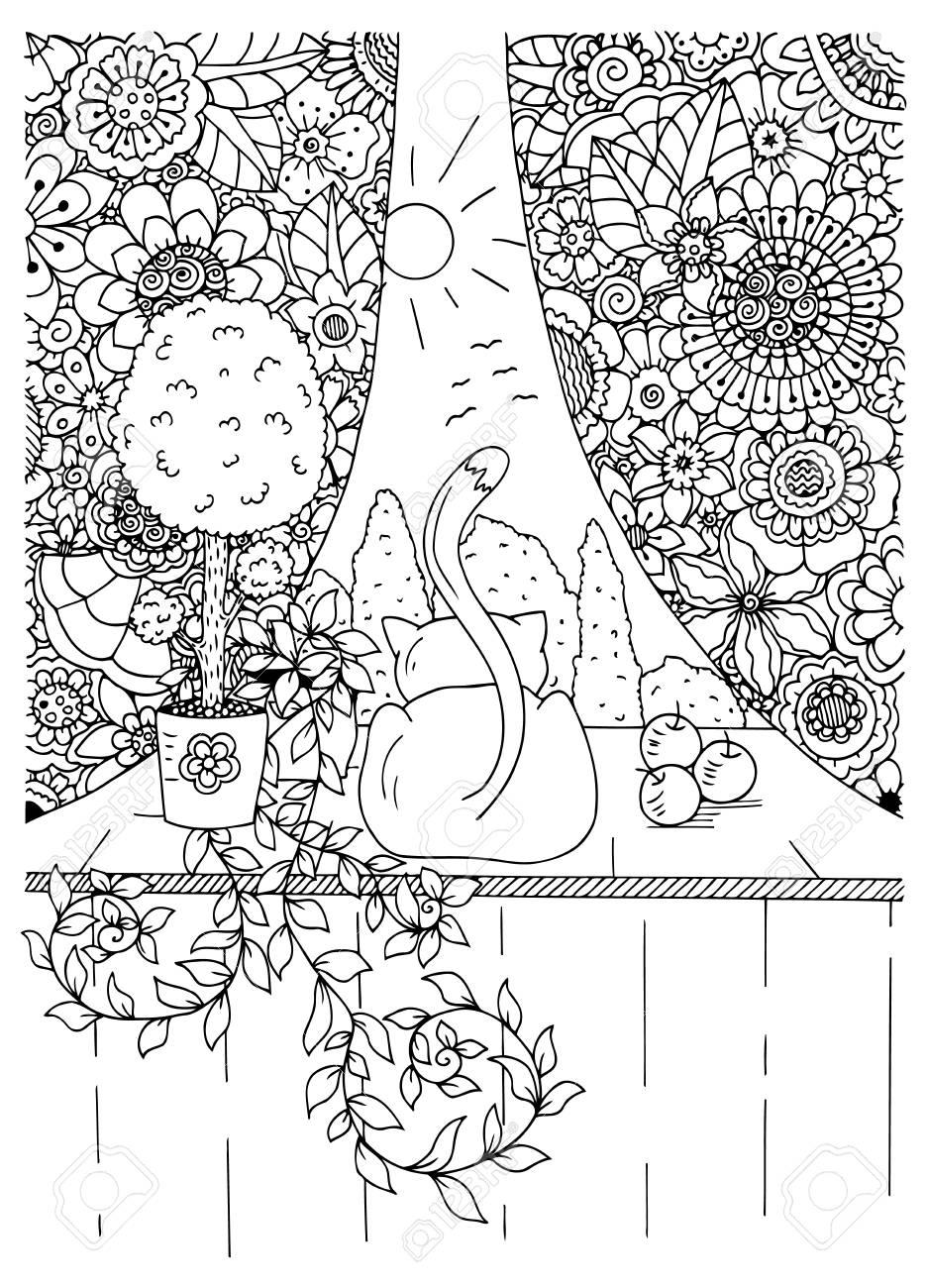 Cornici Disegno Bianco E Nero.Illustrazione Vettoriale Gatto Zentangl E Tende Fiore Cornice Doodle Disegno Esercizi Di Meditazione Libro Da Colorare Anti Stress Per Gli Adulti