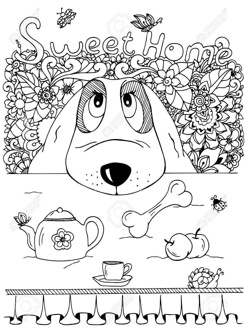 Vektor-Illustration Zentangl, Hund Und Küchentisch. Doodle Blumen ...