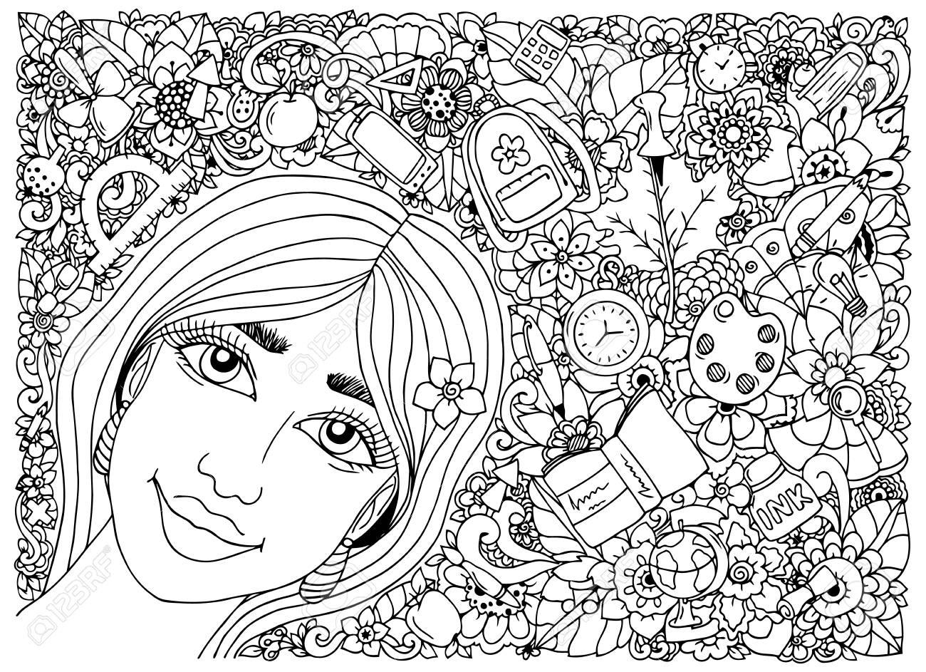 Coloriage Zen Ecole.Vector Illustration Zentangl Ecoliere Dans Un Cadre Avec Des