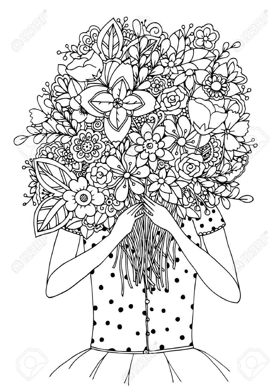 Zentangl Illustration Vectorielle Une Fille Et Un Bouquet De Fleurs Dessin Doodle Exercices Méditatifs Livre De Coloriage Anti Stress Pour