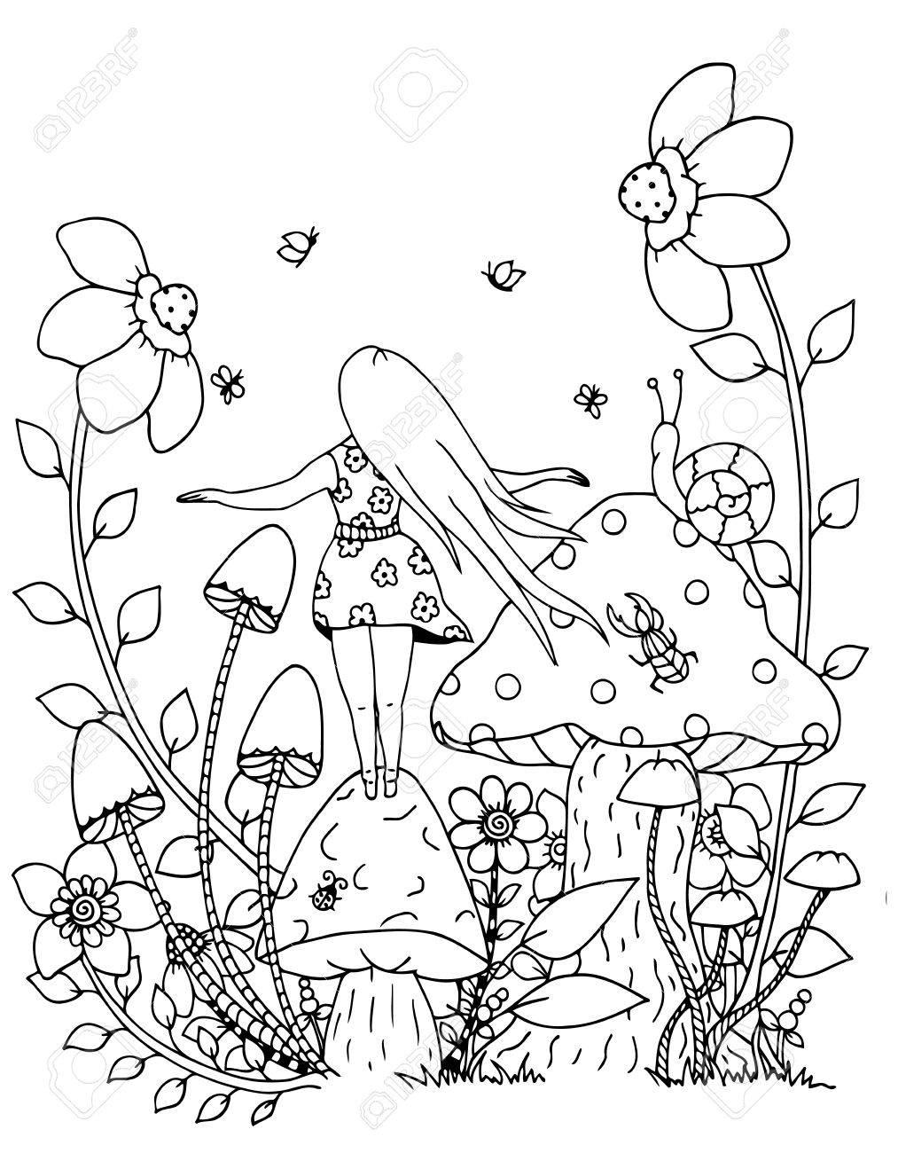 ilustracin del trabajo hecho a mano zentangl chica y la naturaleza dibujo del doodle