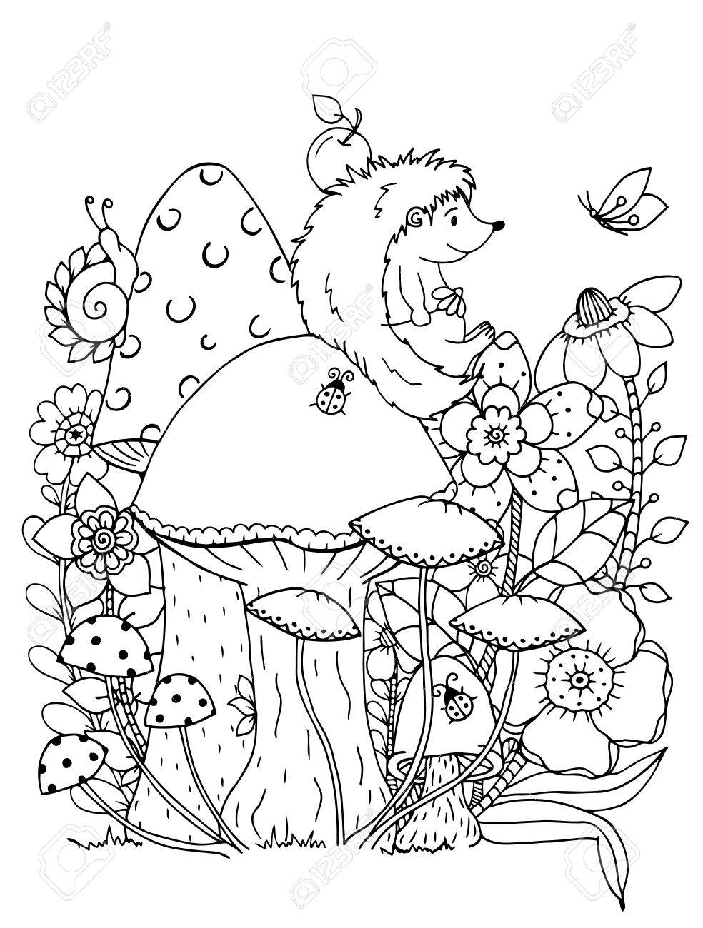 Abbildung Zentangle. Doodle Igel Malvorlage Anti Stress Für