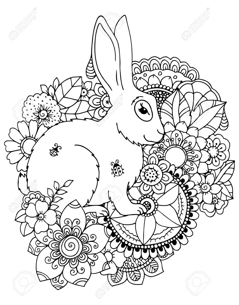Vektor-Illustration Zentangl Hase In Blumen ...