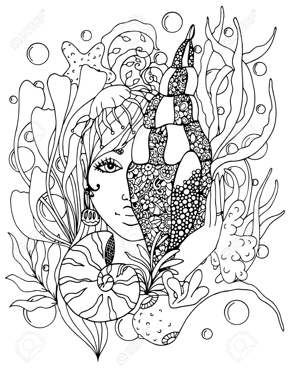 Vektor-Illustration Zentangl Mädchen Mit Shell Im Ozean. Doodle ...
