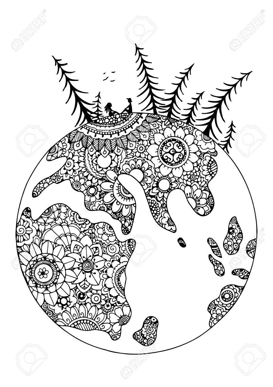 Illustration Zentangl Globus In Blumen Paar Liebhaber