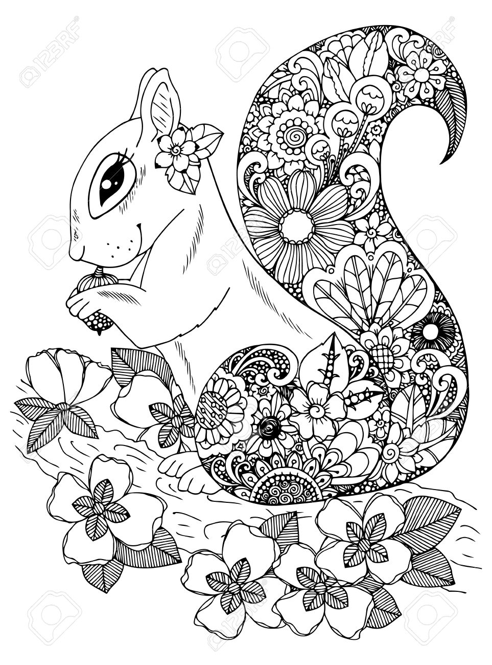 Illustration Zentangle Squirrel With Flowers Doodle Drawing Coloring Page Anti Stress For Adults