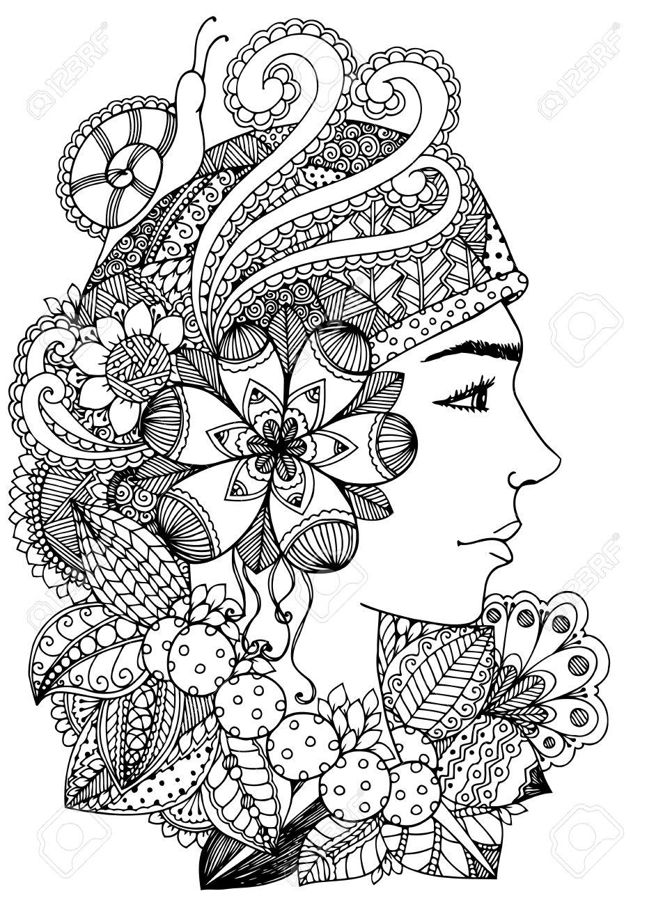 Dibujo Del Doodle. Ejercicio Meditativo. Libro Para Colorear Anti